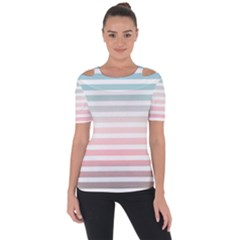 Horizontal Pinstripes In Soft Colors Shoulder Cut Out Short Sleeve Top by shawlin