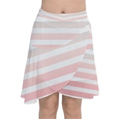 Horizontal Pinstripes In Soft Colors Chiffon Wrap Front Skirt by shawlin