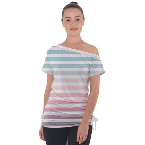 Horizontal Pinstripes In Soft Colors Tie Up Tee by shawlin