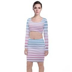Horizontal Pinstripes In Soft Colors Top And Skirt Sets by shawlin