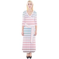 Horizontal Pinstripes In Soft Colors Quarter Sleeve Wrap Maxi Dress by shawlin