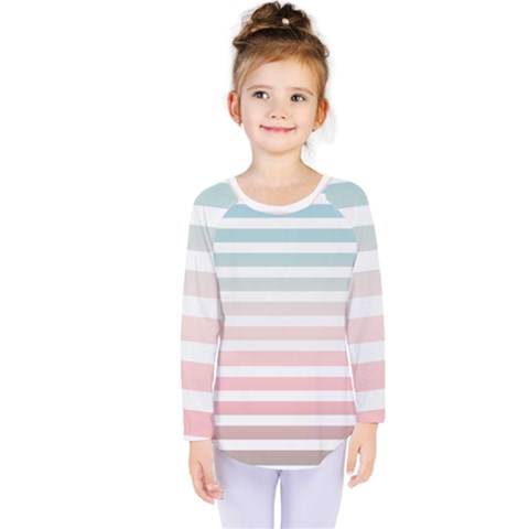Horizontal Pinstripes In Soft Colors Kids  Long Sleeve Tee by shawlin