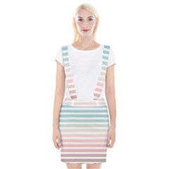 Horizontal Pinstripes In Soft Colors Braces Suspender Skirt by shawlin