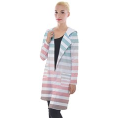 Horizontal Pinstripes In Soft Colors Hooded Pocket Cardigan by shawlin
