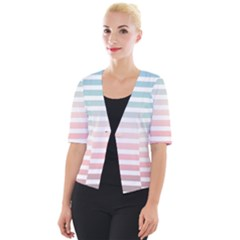 Horizontal Pinstripes In Soft Colors Cropped Button Cardigan by shawlin