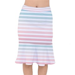 Horizontal Pinstripes In Soft Colors Short Mermaid Skirt by shawlin