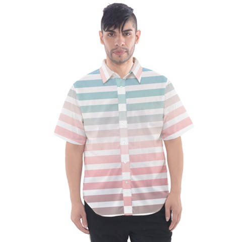 Horizontal Pinstripes In Soft Colors Men s Short Sleeve Shirt by shawlin