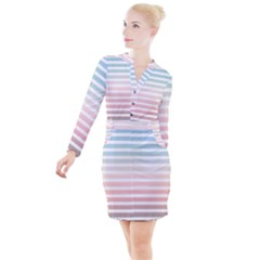 Horizontal Pinstripes In Soft Colors Button Long Sleeve Dress by shawlin