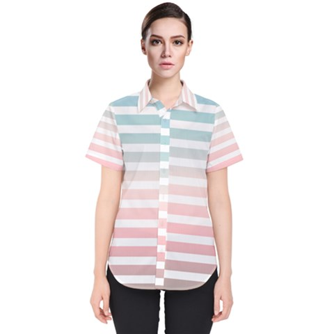 Horizontal Pinstripes In Soft Colors Women s Short Sleeve Shirt by shawlin