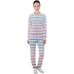 Horizontal Pinstripes In Soft Colors Casual Jacket And Pants Set by shawlin