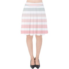 Horizontal Pinstripes In Soft Colors Velvet High Waist Skirt by shawlin