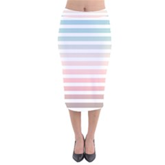 Horizontal Pinstripes In Soft Colors Velvet Midi Pencil Skirt by shawlin