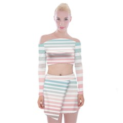 Horizontal Pinstripes In Soft Colors Off Shoulder Top With Mini Skirt Set by shawlin