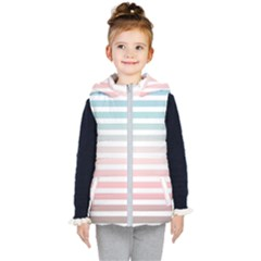 Horizontal Pinstripes In Soft Colors Kids  Hooded Puffer Vest by shawlin
