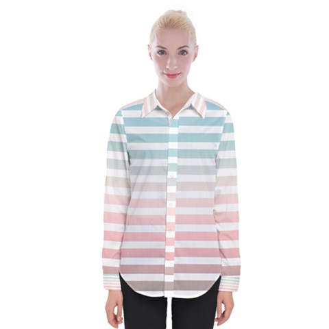 Horizontal Pinstripes In Soft Colors Womens Long Sleeve Shirt by shawlin