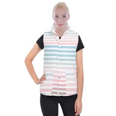 Horizontal Pinstripes In Soft Colors Women s Button Up Vest by shawlin