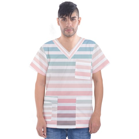 Horizontal Pinstripes In Soft Colors Men s V Neck Scrub Top by shawlin