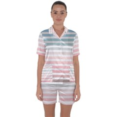 Horizontal Pinstripes In Soft Colors Satin Short Sleeve Pyjamas Set by shawlin