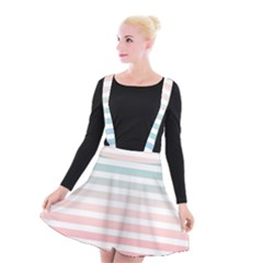 Horizontal Pinstripes In Soft Colors Suspender Skater Skirt by shawlin