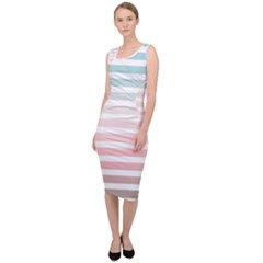 Horizontal Pinstripes In Soft Colors Sleeveless Pencil Dress