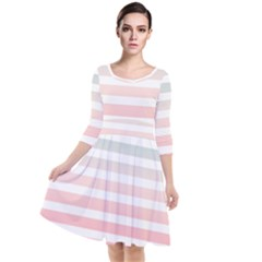 Horizontal Pinstripes In Soft Colors Quarter Sleeve Waist Band Dress by shawlin