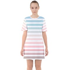 Horizontal Pinstripes In Soft Colors Sixties Short Sleeve Mini Dress by shawlin