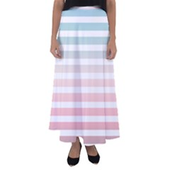 Horizontal Pinstripes In Soft Colors Flared Maxi Skirt by shawlin