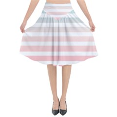 Horizontal Pinstripes In Soft Colors Flared Midi Skirt by shawlin