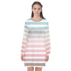 Horizontal Pinstripes In Soft Colors Long Sleeve Chiffon Shift Dress  by shawlin