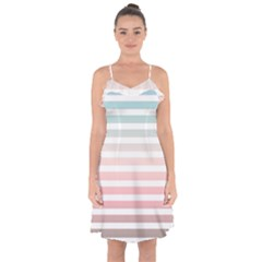 Horizontal Pinstripes In Soft Colors Ruffle Detail Chiffon Dress by shawlin