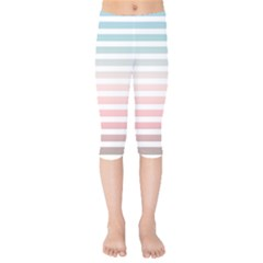 Horizontal Pinstripes In Soft Colors Kids  Capri Leggings  by shawlin