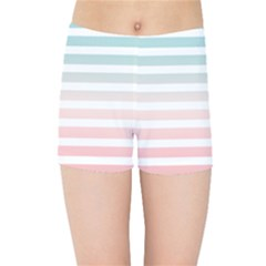 Horizontal Pinstripes In Soft Colors Kids  Sports Shorts by shawlin