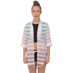 Horizontal Pinstripes In Soft Colors Open Front Chiffon Kimono by shawlin