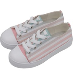Horizontal Pinstripes In Soft Colors Kids  Low Top Canvas Sneakers by shawlin