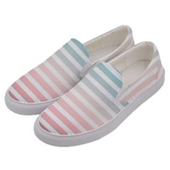 Horizontal Pinstripes In Soft Colors Men s Canvas Slip Ons by shawlin