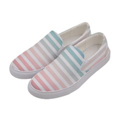 Horizontal Pinstripes In Soft Colors Women s Canvas Slip Ons by shawlin
