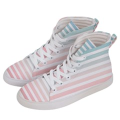 Horizontal Pinstripes In Soft Colors Men s Hi-top Skate Sneakers by shawlin