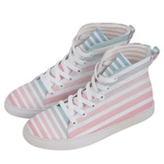 Horizontal Pinstripes In Soft Colors Women s Hi-top Skate Sneakers by shawlin