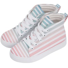 Horizontal Pinstripes In Soft Colors Kids  Hi-top Skate Sneakers by shawlin