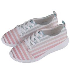 Horizontal Pinstripes In Soft Colors Women s Lightweight Sports Shoes by shawlin