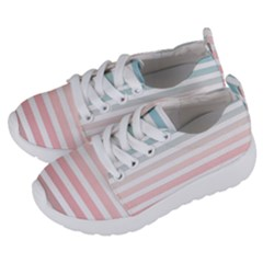 Horizontal Pinstripes In Soft Colors Kids  Lightweight Sports Shoes by shawlin