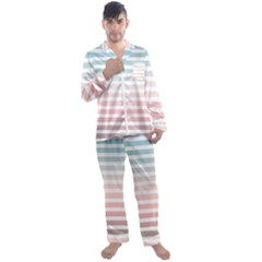 Horizontal Pinstripes In Soft Colors Men s Satin Pajamas Long Pants Set by shawlin
