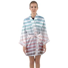 Horizontal Pinstripes In Soft Colors Long Sleeve Kimono Robe by shawlin