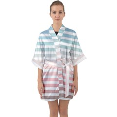 Horizontal Pinstripes In Soft Colors Quarter Sleeve Kimono Robe by shawlin