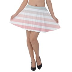 Horizontal Pinstripes In Soft Colors Velvet Skater Skirt by shawlin