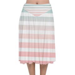 Horizontal Pinstripes In Soft Colors Velvet Flared Midi Skirt by shawlin