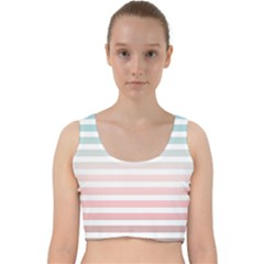 Horizontal Pinstripes In Soft Colors Velvet Racer Back Crop Top by shawlin