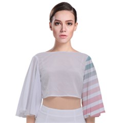 Horizontal Pinstripes In Soft Colors Tie Back Butterfly Sleeve Chiffon Top by shawlin