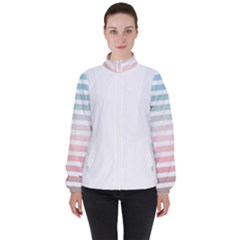 Horizontal Pinstripes In Soft Colors Women s High Neck Windbreaker by shawlin