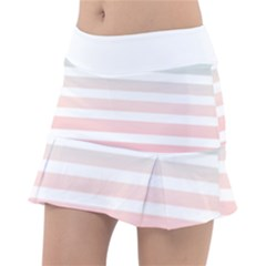 Horizontal Pinstripes In Soft Colors Tennis Skirt by shawlin